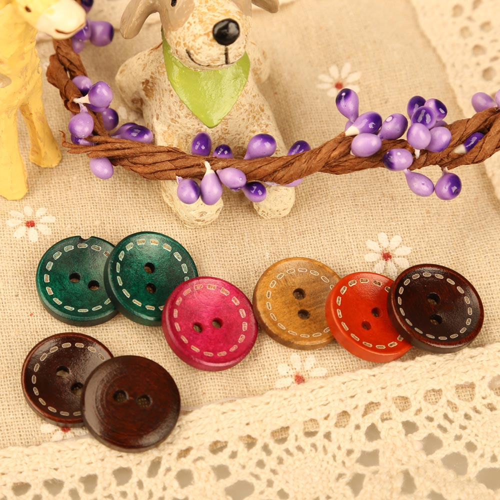 Considerate 100 Pcs/lot Wooden Buttons 19mm Mixed Colors Round Wood Buttons Stoving Varnish For Toy Diy Sewing E5m1 Distinctive For Its Traditional Properties Apparel Sewing & Fabric Arts,crafts & Sewing