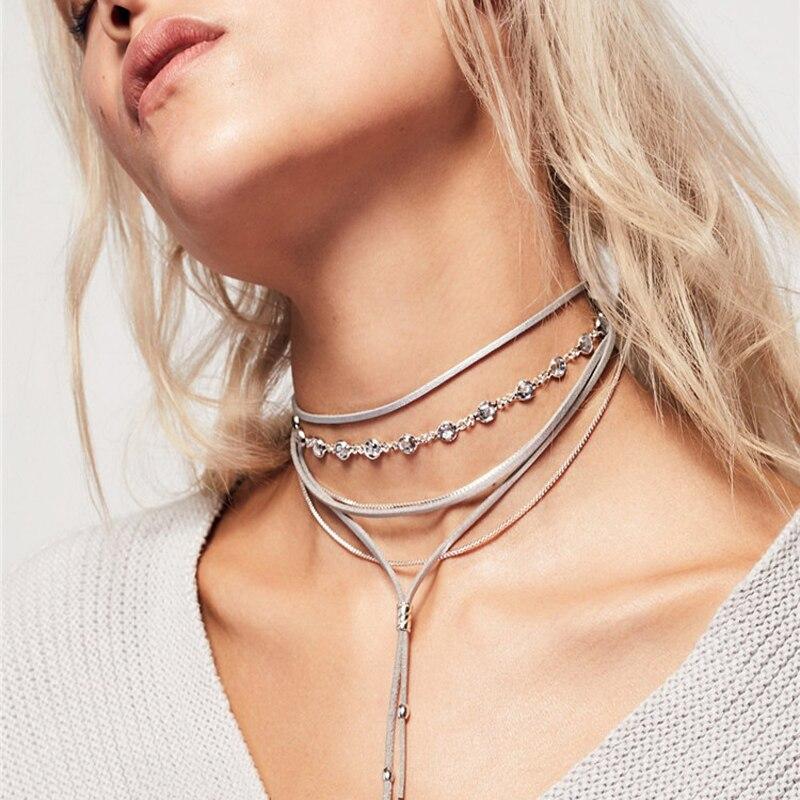 Новейшие модные аксессуары и украшения Богемия серебряный цвет кристалл несколько слоев Цепочки и ожерелья для пара влюбленных N390