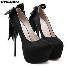 564c27bc8247 TINGHON Fashion Sexy Bow Thin Heel 16cm High Heel Party shoes Peep toe High  Heel Women Pumps Shoes
