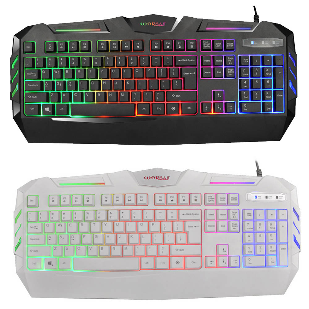 Mechanical Feel Keyboard K3 USB Wired Illuminated Colorful LED Backlight Multimedia PC Gaming Keyboard 20A Drop Shipping