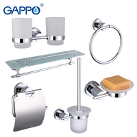 Gappo 6PC Set Bathroom Accessories Soap Dish Toothbrush Holder Paper Holder Towel Ring Glass Shelf Bath