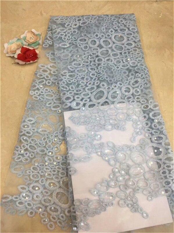 En gros bleu ciel brodé dentelle africaine cordon dentelle de haute qualité africain français maille dentelle tissu avec des paillettes pour la fête
