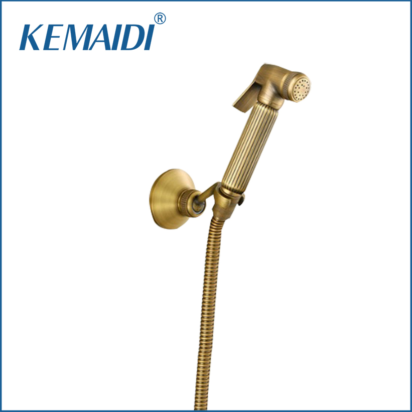 KEMAIDI Antique Brass Bidet Faucets Wall Mounted Bathroom Shower Toilet Faucet With Hand Shower Bathroom Accessories kemaidi 3 pcs antique brass
