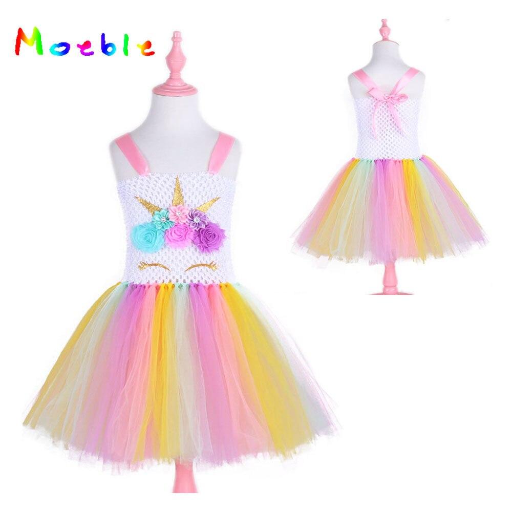 Licorne Partie Enfants Robes pour les Filles Tutu Robe Halloween Noël Cosplay Poney Fille Robe Robe Menina Princesse robe de Bal