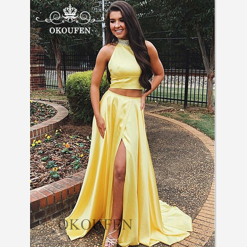 Yellow Two Pieces   Bridesmaid     Dresses   For Women 2019 Beading High Neck Split Long Crop Top Prom   Dress   Party Gown Vestido Longo