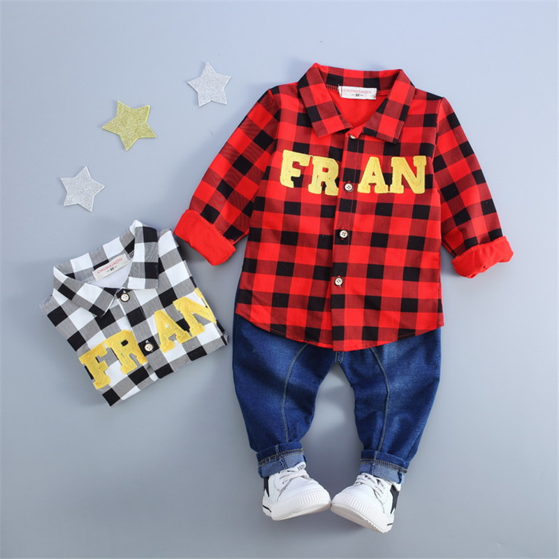 2018 Spring Autumn Baby Boy Casual Clothes Set Kids Plaid Shirt + Jeans Pants 2Pcs Kids Soft Clothing Set kids clothing set plaid shirt with grey vest gentleman baby clothes with bow and casual pants 3pcs set for newborn clothes