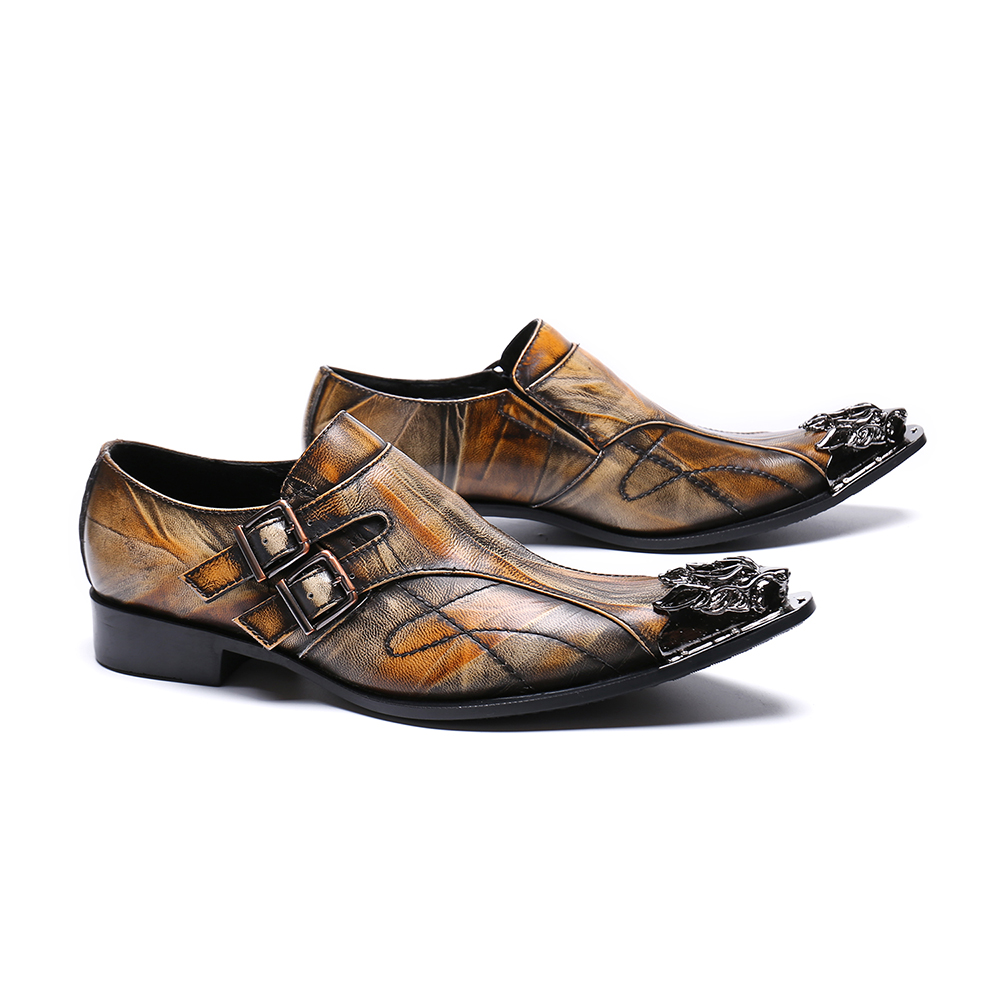 Oxfords Hochzeit Männlichen Männer Schuhe Christia Plus Größe Business Metall Bella Brown Echtem Italienischen Spitz Aus Formale Leder qF74Tw