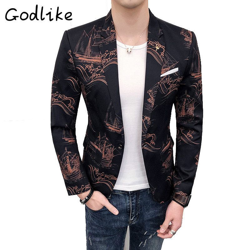 GODLIKE 2018 Spring and autumn new mens Chinese print club fashion city small suit./Men fashion business casual cotton suit.