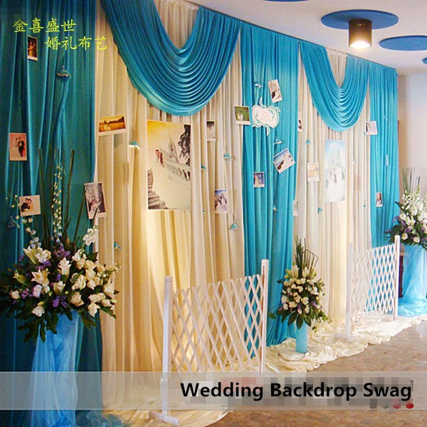 3X6M Ice Silk White Wedding Backdrop Curtains With Teal Blue Swag ...