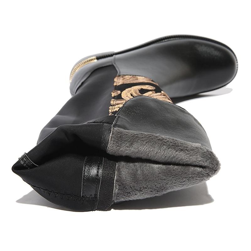 Taille Hiver À De Genou Marque Chaussures En C065j Faible Lisa Hauteur Cuir Orcha Bottes Femmes Chaud Épais Causalité Grande Glitter Talon Black Du Nouvelle Véritable EqXPa6Cnw