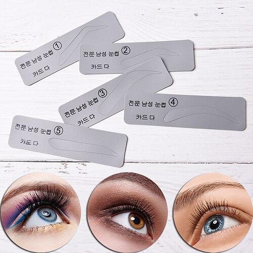 5pcs/set Men Reusable Eyebrow Stencil Set Eye Brow DIY Drawing Guide Styling Shaping Grooming Template Card Makeup Beauty Kit