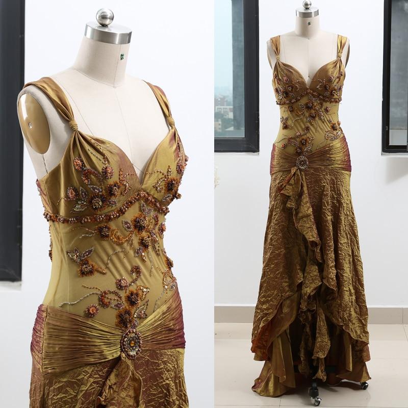 Olive Green Sheath V Neck Floor-Length Beading Satin Prom Party Formal Evening Dress M 261936