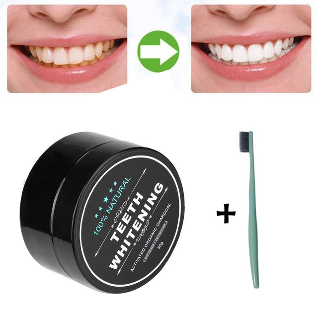 100% Natural Teeth Whitening Powder 30g Natural Organic Activated Charcoal Bamboo Toothpaste With Toothbrush Drop Shipping Health & Beauty