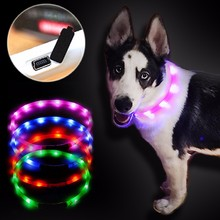 Rechargeable Glowing Dog Collars Luminous Pet Flash Night Charging Collar LED Light USB for Small Medium Large DogD30