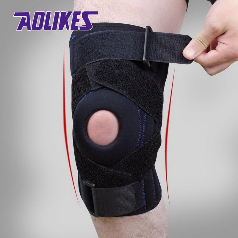 AOLIKES 1 STKS Verstelbare Scharnierende Wraparound Kniebrace Patella - Sportkleding en accessoires - Foto 2