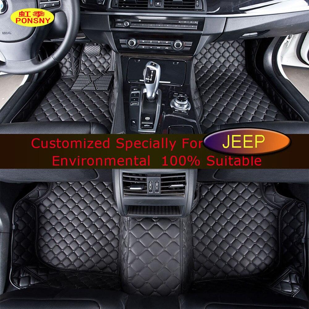 PONSNY Car <font><b>Floor</b></font> Mats for <font><b>Jeep</b></font> Wrangler Commander <font><b>Grand</b></font> <font><b>Cherokee</b></font> Compass Patriot Customized Foot Rugs Custom Auto 3D Carpets