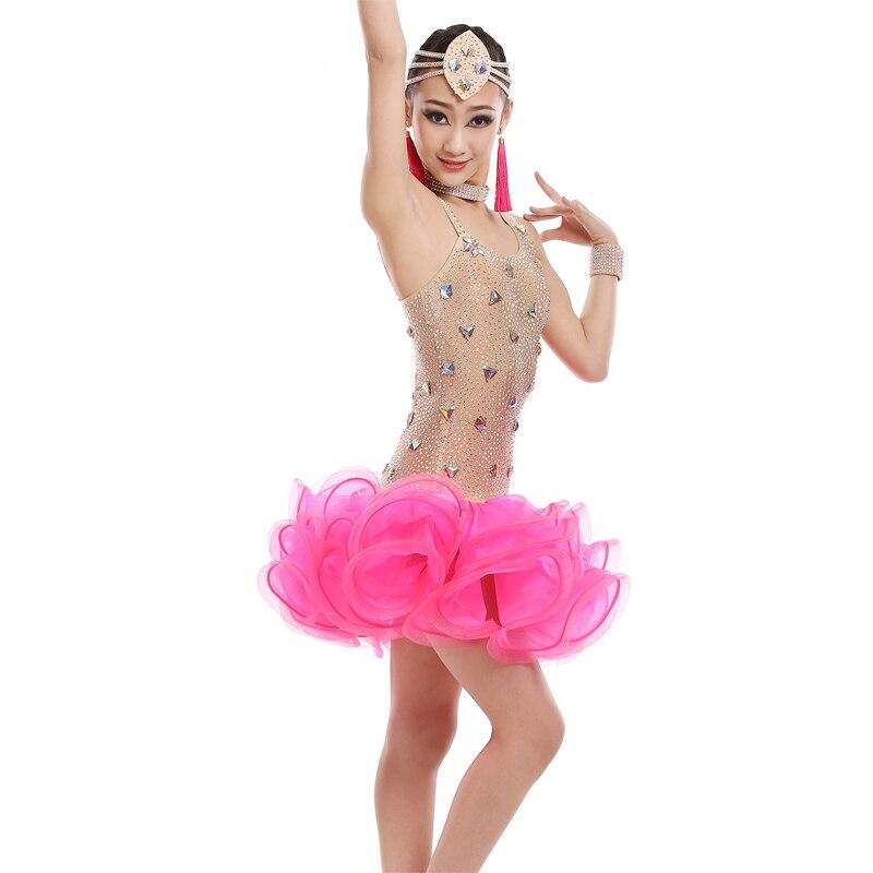 Sexy vestidos latinos para niñas competencia traje de baile para - Novedad