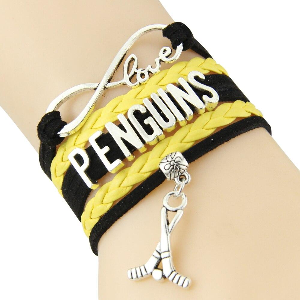 Chain Bracelet Infinite Love PENGUINS Black Yellow Cord Golf Dropshipping