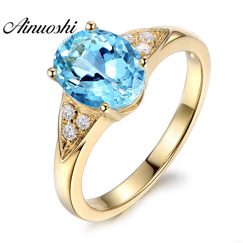 AINUOSHI 3ct Oval Cut Topaz Yellow Gold Color Ring 925 Sterling Silver Natural Blue Topaz Ring Fine Engagement Ring for WomanAINUOSHI 3ct Oval Cut Topaz Yellow Gold Color Ring 925 Sterling Silver Natural Blue Topaz Ring Fine Engagement Ring for Woman
