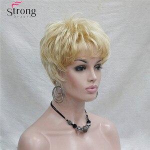 Image 3 - Kısa Altın Sarışın Sentetik Saç peruk Kadınlar Için RENK SEÇENEKLERI