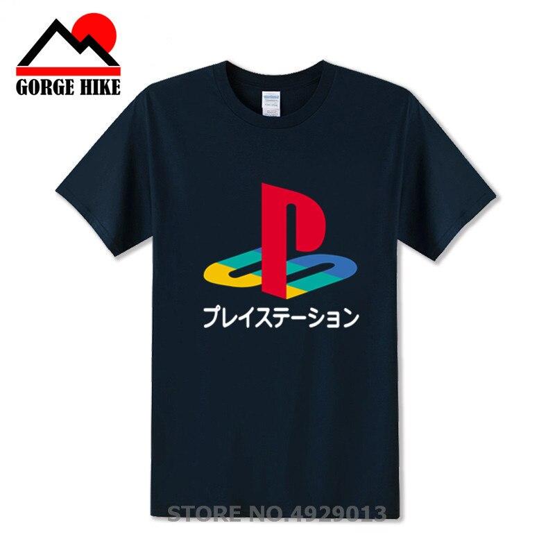Retro camisa Do Logotipo T Jogo Vedeo Xbox playstation PS T-shirt Dos Homens Streetwear camiseta HipHop PS1-PS4 Puro Algodão de Manga Curta menino