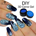 Saviland 1pcs Soak Off UV Gel Carved Patterns Gel 3D Bright 12 Colors Glitter Sculpture Nail Art Modelling Manicure