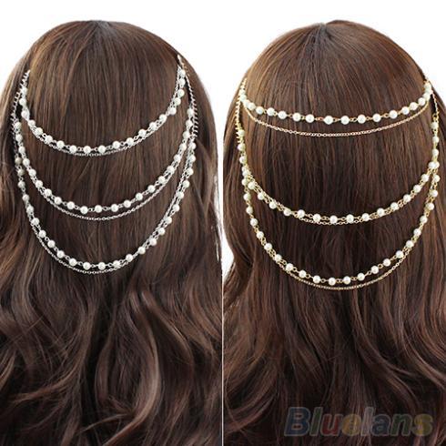 Celebrity Women s Boho Pearl Headband Tassel Headpiece font b Hair b font Chain font b