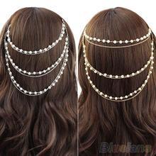 Celebrity Women's Boho Pearl Headband Tassel Headpiece Hair Chain Hair Comb Jewelry 1RQ2