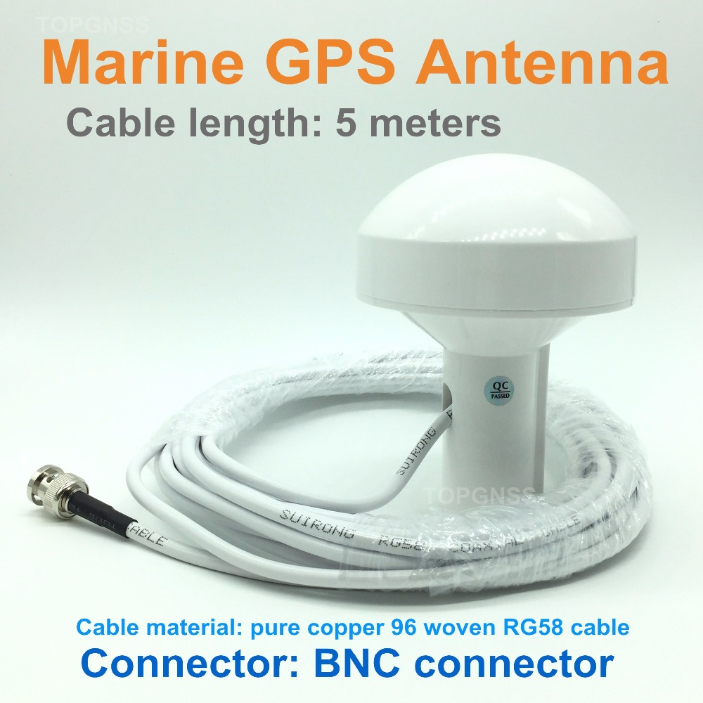 NEW Free shipping high quality RG58 cable marine positioning navigation active GNSS Gps antenna, BNC connector, cable length 5M
