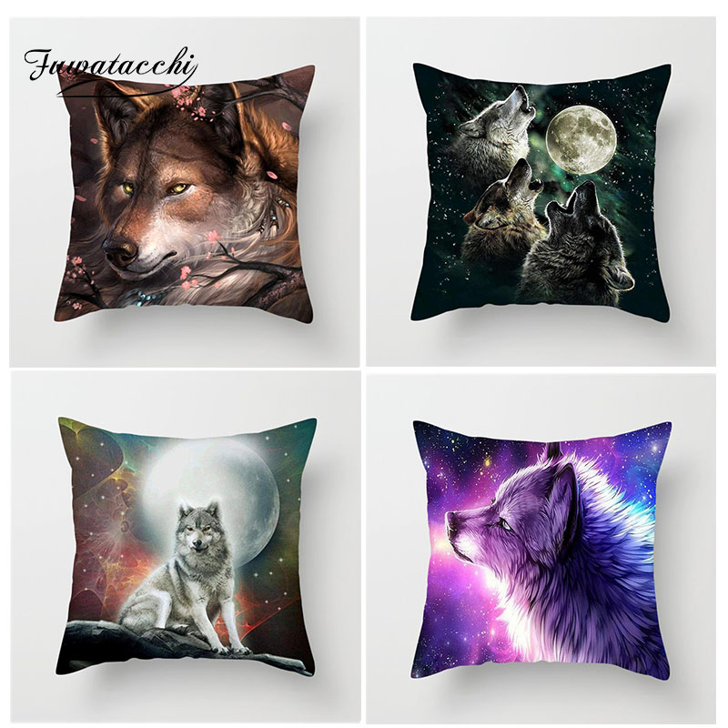 Fuwatacchi Animal Cushion Cover Wolf Husky Pillow Cover For Sofa Home Chair Bedroom Home Decoration Square  Pillowcases