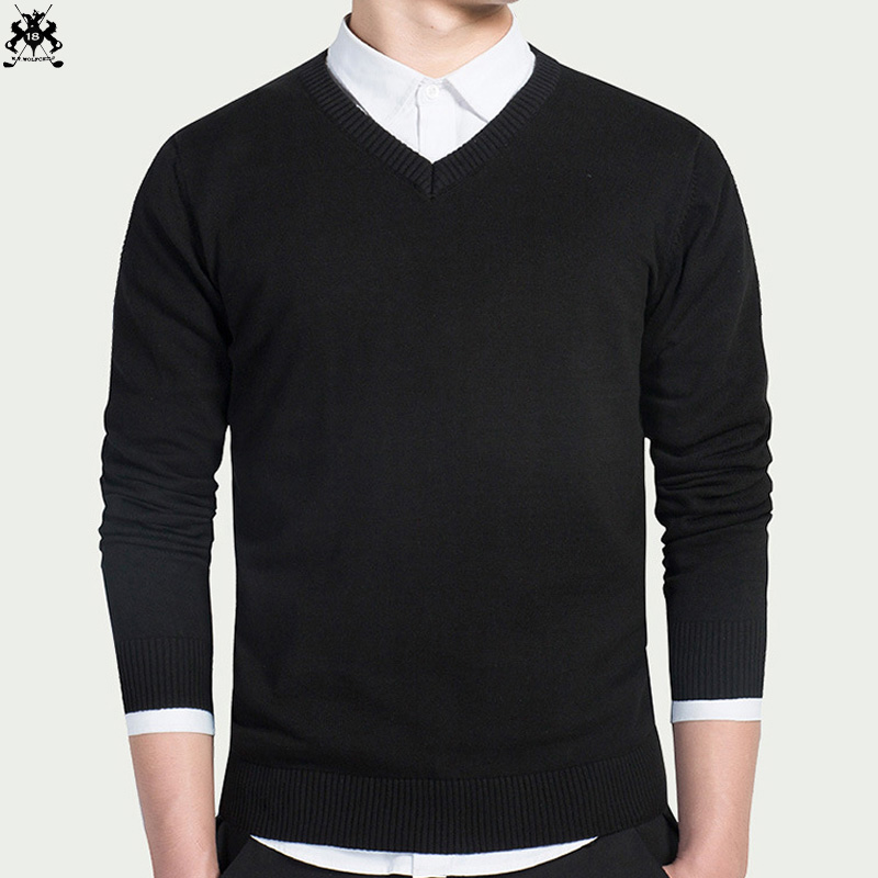Fashion 2018 Autumn mens brand long sleeve V-neck sweaters 100% cotton casual mens pullovers knit sweaters slim mens knit tops
