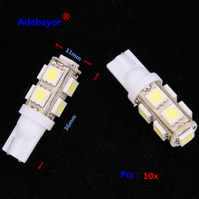 10X T10 9 SMD 5050 led Car 194 W5W reading door corner turn signal light instrument lamp Wedge Interior clearance Bulbs 7 color
