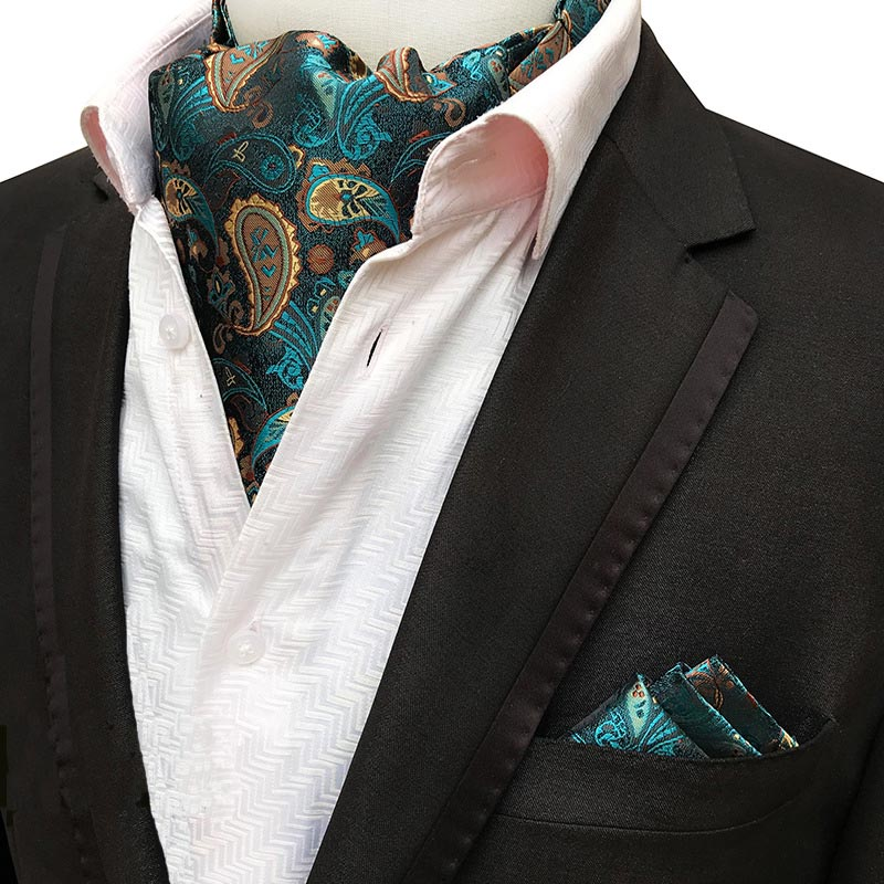 Men Luxury Silk Ascot Tie Set Man Cravat Ties Handkerchief Sets Floral Paisley Dots Pocket Square Necktie For Wedding Party