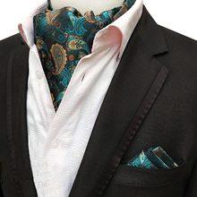 Men Luxury Silk Ascot Tie set Man Cravat Ties Handkerchief Sets Floral Paisley Dots Pocket Square Necktie For Wedding Party