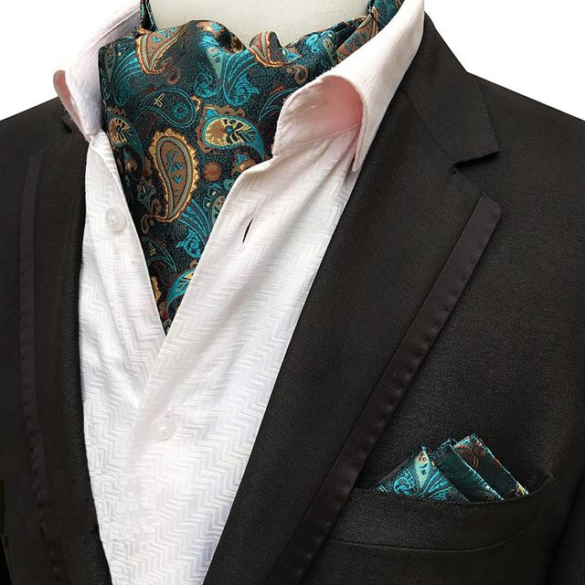 8066903af375 Men Luxury Silk Ascot Tie set Man Cravat Ties Handkerchief Sets Floral  Paisley Dots Pocket Square Necktie For Wedding Party