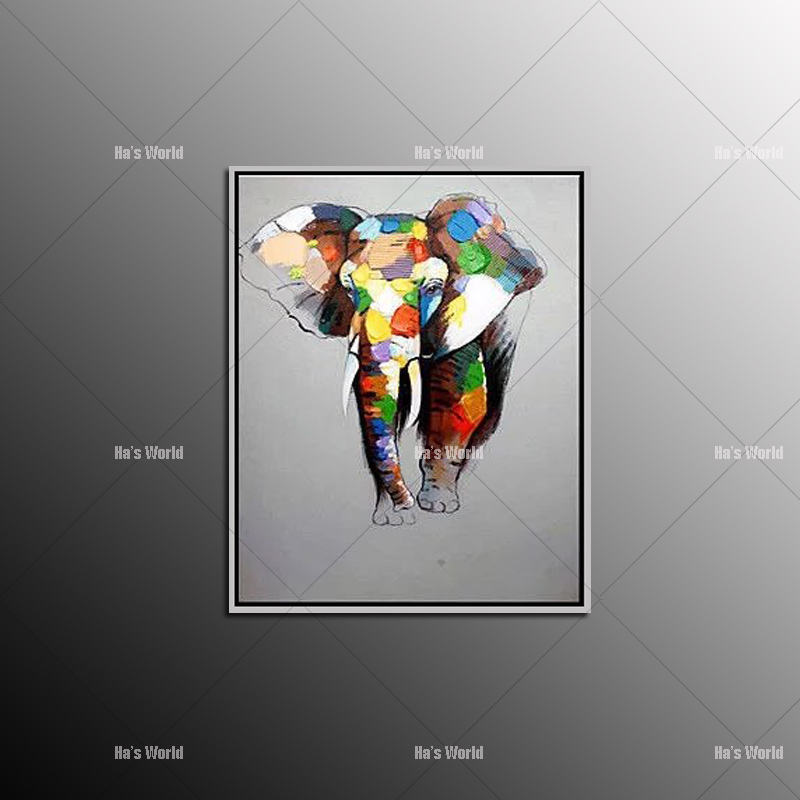 Best sale Wall Art Oil Painting handpainted Abstract elephant Animals Oil Painting on Canvas for Home Decoration no framed