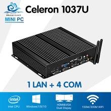 Мини-ПК промышленный компьютер Intel Celeron 1037U одной LAN 4 com мини Промышленные ПК с Windows 10 Linux Computador HDMI VGA маршрутизатор ПК