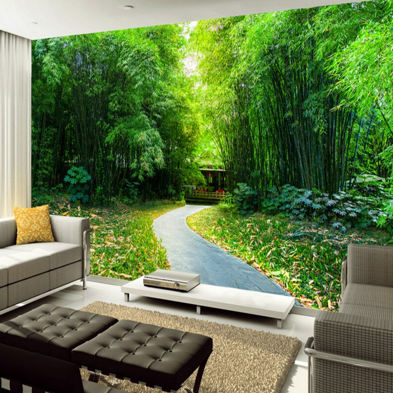 Online buy wholesale bamboo wallpaper from china bamboo for Nature room wallpaper