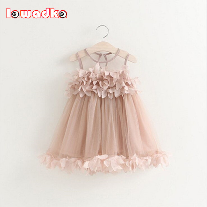Summer Mesh Vest Girls Dress Baby Girl Princess Dress Fashion Sleeveless Petal Decoration Party Chlidren Clothes 2017 summer new lace vest girl dress baby girl princess dress 3 7 age chlidren clothes kids party costume ball gown beige