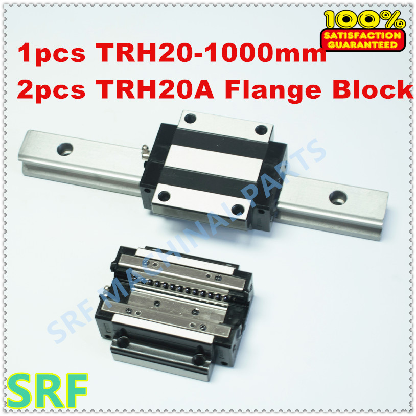 1pcs TRH20 L=1000mm Linear guide rail + 2pcs TRH20A Linear rail block Carriage Slider large format printer spare parts wit color mutoh lecai locor xenons block slider qeh20ca linear guide slider 1pc