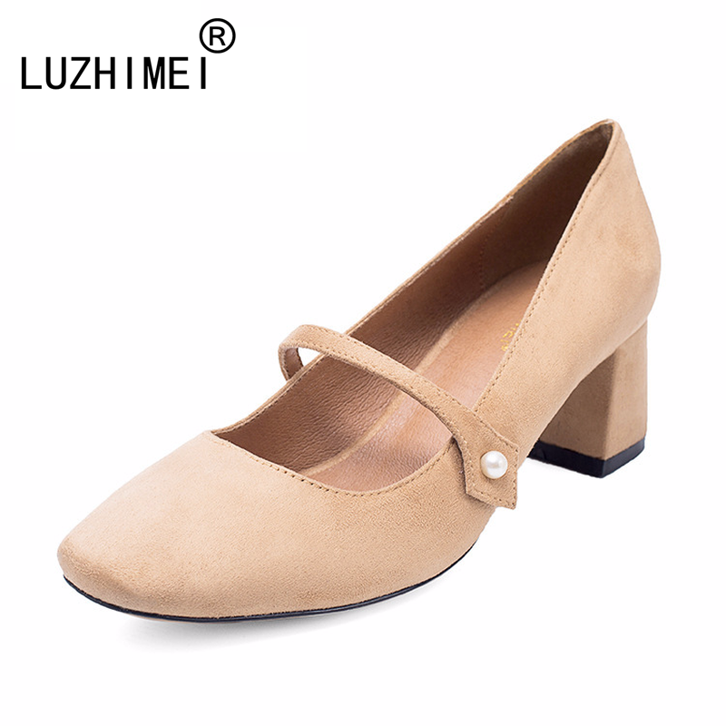 LUZHIMEI 2017 new women shoe shallow Mary Janes Simple suede High heels pearl A square with square shoes Vintage casual shoes цена и фото