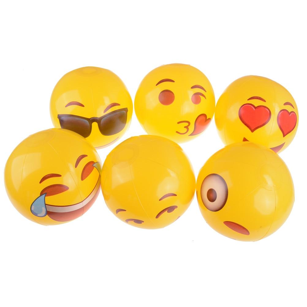 1PCS Cute Emoji Inflatable Beach Balls Children Adult ...