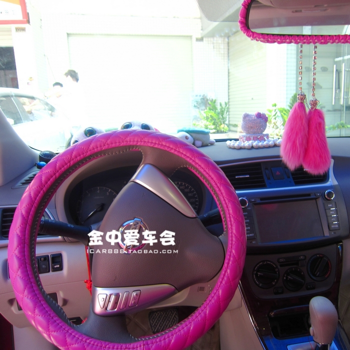 pink pu leather steering wheel cover car interior accessories 36cm 38cm 39cm for kia ceed k2. Black Bedroom Furniture Sets. Home Design Ideas