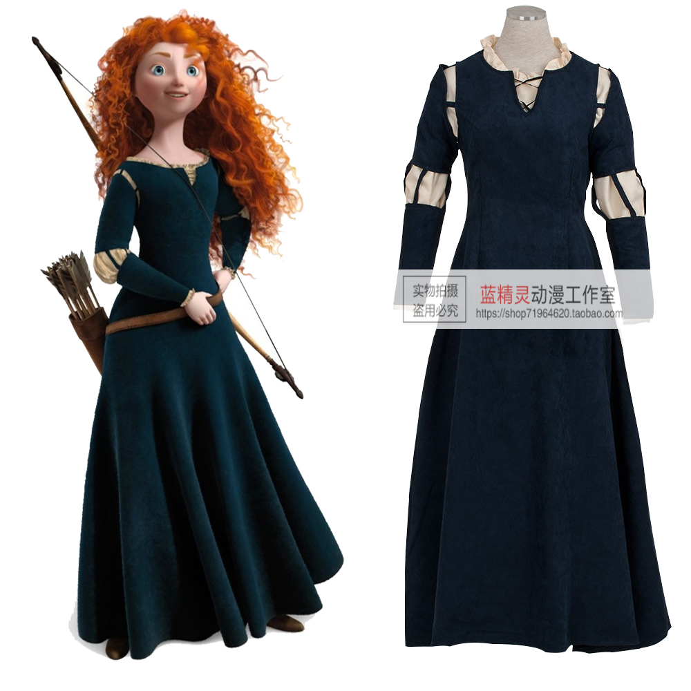 High quality Brave film Princess Merida Costume Cosplay dress Suede or uniform cloth two styles can choose