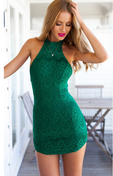 Hot Summer 2016 Y Sleeveless Halter Dress Slim Package Hip Nightclub Club Lace Solid Color Mini In Dresses From Women S Clothing