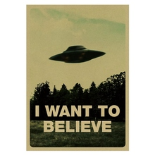 Vintage Classic Movie The Poster I Want To Believe Poster Bar Home Decor Kraft Paper Painting Wall Sticker 51.5X36cm vintage classic movie black mirror poster good quality painting retro poster kraft paper for home bar wall decor stickers