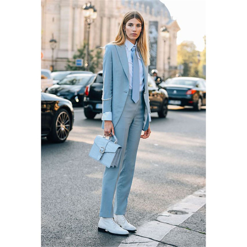 Light Sky Blue Female Office Uniform Womens Trouser Suit Ladies Pant Suit Formal Business Work Suit Womens Wedding Tuxedo At Any Cost