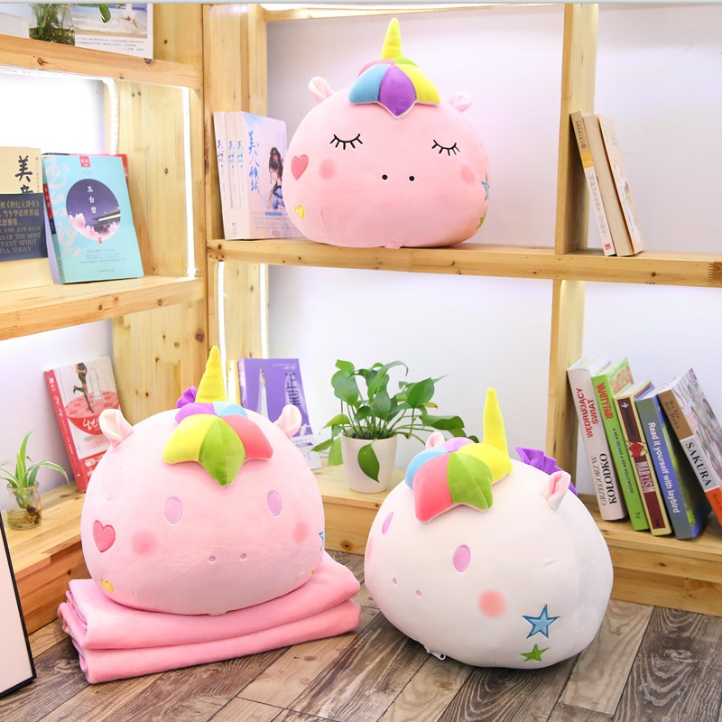 new arrival colorful stuffed unicorn 2 in 1 pillow with blanket inside soft plush rainbow unicorn head toys for children