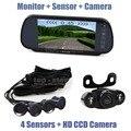 DIYKIT Video Parking Radar 4 Sensors + 7 inch Build-in LCD Display Mirror Car Monitor + LED Night Vision HD Rear View Camera