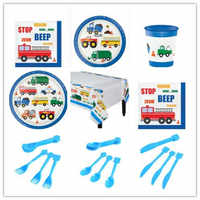 Cartoon Fire Truck Car Train Party Disposable Tableware Cup Plate 1st Birthday Party Decor Kids Baby Shower Party Supplies